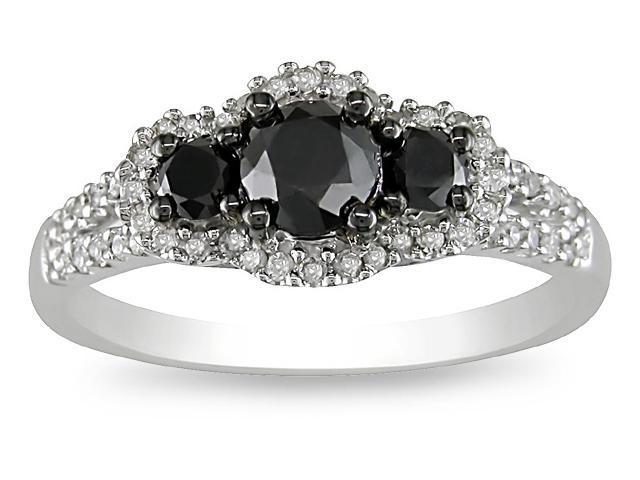 10k White Gold 1ct TDW Black Diamond Ring