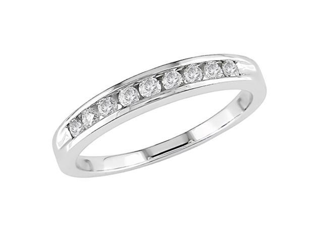 10K White Gold 1/5 Carat Diamond Semi-Eternity Ring