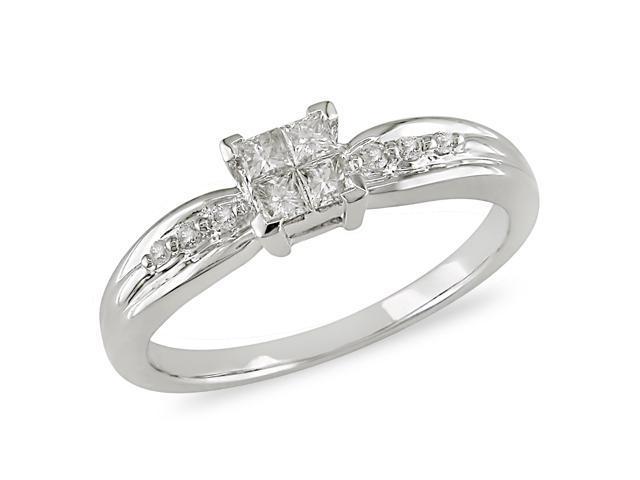 1/4 ct.t.w. Diamond Ring in 10k White Gold, I2-I3, G-H-I