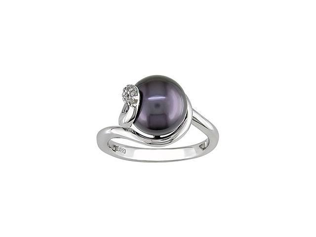 Sterling Silver Black FW Pearl Ring (9-10 mm)
