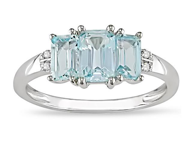 10k Gold Blue Topaz and Diamond Accent Ring