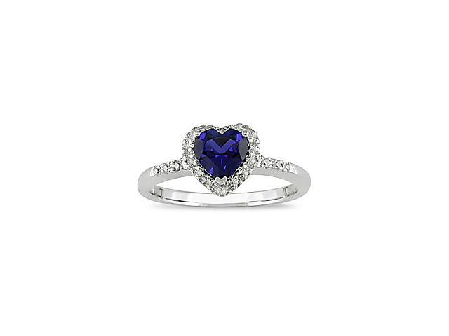 1/10ct Diamond and Created Sapphire Ring in 10k White Gold
