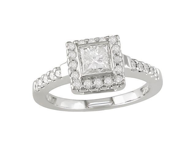 14K White Gold 1 ctw Diamond Engagement Ring