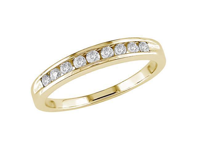 10K Yellow Gold 1/5 Carat Diamond Semi-Eternity Ring GHI I2;I3