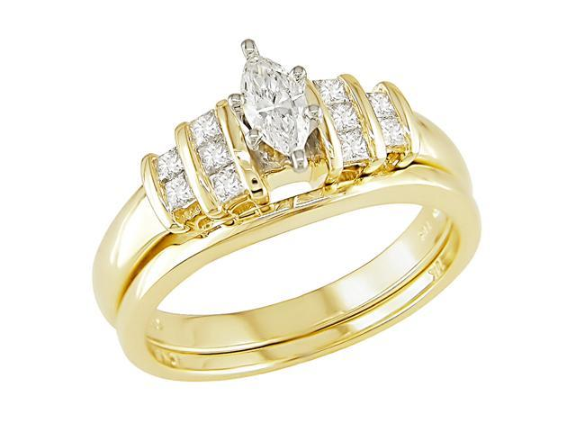 14K 2-Tone Gold 1/2 ctw Diamond Wedding Ring Set