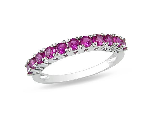 7/8 CT TGW Created Ruby Fashion Ring Silver