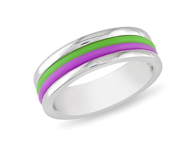 Stainless Steel Band Ring with Purple & Green Material Stipes