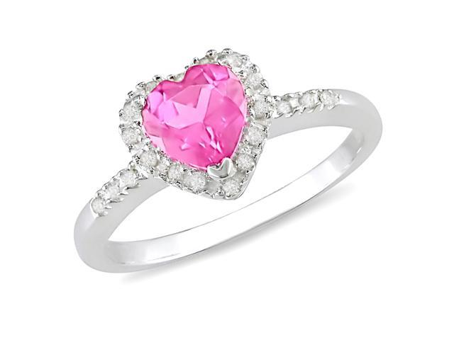 1/10 CT Diamond TW And 1 CT TGW Created Pink Sapphire Heart Ring Silver I3