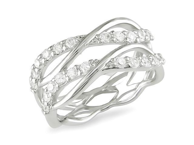 Sterling Silver 1.8mm CZ Criss-Cross Ring