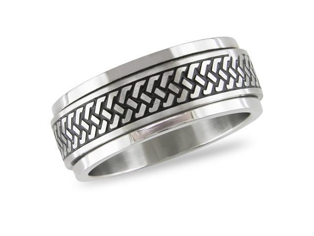 Stainless steel spinning Ring with black enamel