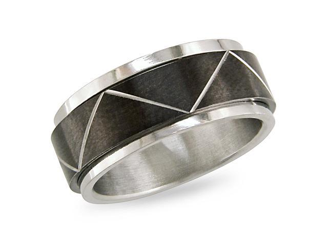 Stainless steel Spinning Ring with black plating (8mm)