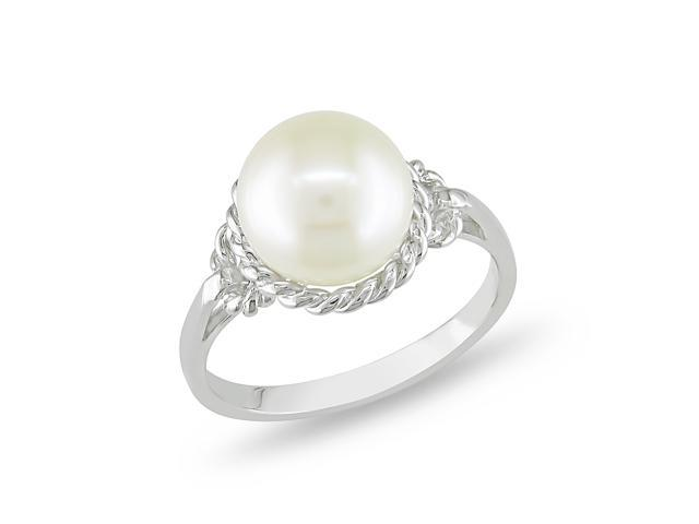 9 - 9.5 MM White Freshwater Pearl Fashion Ring Silver