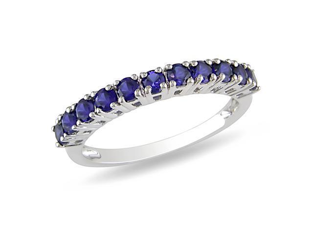7/8 CT TGW Created Sapphire Fashion Ring Silver