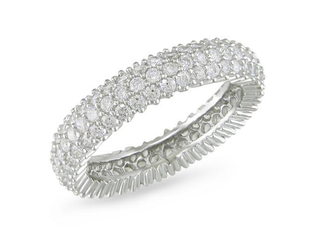 1 7/8 CT TGW White Cubic Zirconia Eternity Ring Silver Size: 8.5