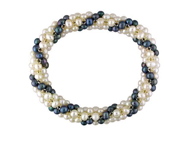 "7"" Multiple-Row 4 - 5mm Potato White & Black FW Pearl Elastic Bracelet"