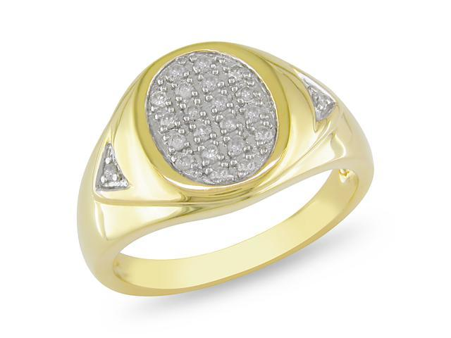 Amour Collection 1/4 cttw. Men's Diamond Yellow Silver Ring