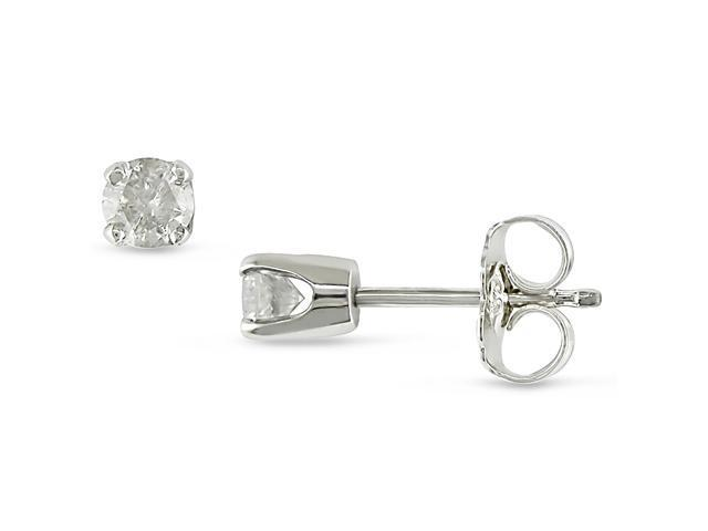 Amour Collections 1/3 CTTW Diamond Solitaire Stud Earrings in Sterling Silver