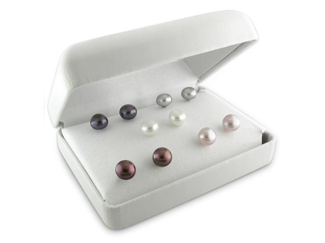 6-7mm Cultured Freshwater Button Pearl Stud Earrings in Silver (Set of 5)