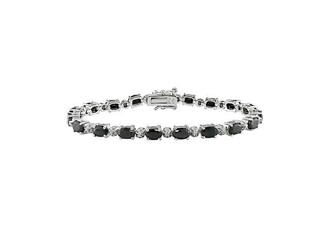 Sterling Silver 0.02ct TDW Diamond and 10 5/8ct TGW Sapphire Bracelet, 7.25