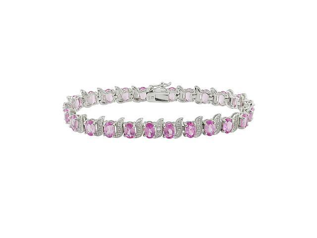 7-inch- 14 CT TGW Created Pink Sapphire & Diamond Accent Bracelet in Silver I3