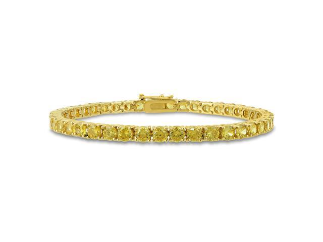 Sterling Silver 4mm Round Yellow Cubic Zirconia Tennis Bracelet, 7.25