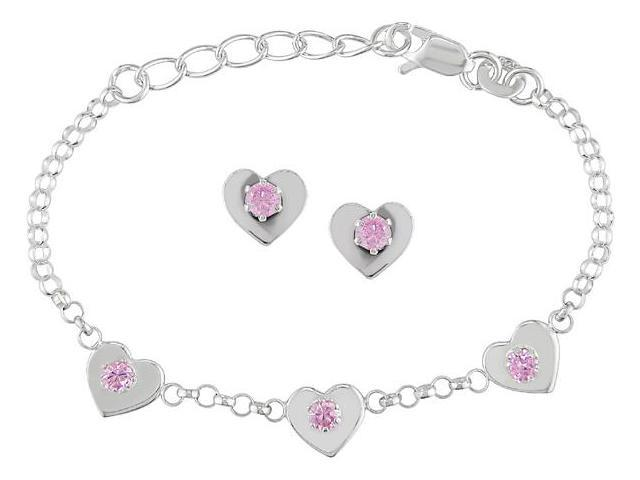 Pink Silver Cubic Zirconia Heart Bracelet and Set