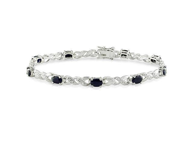 Sterling Silver Diamond and Sapphire Silver Bracelet, 7