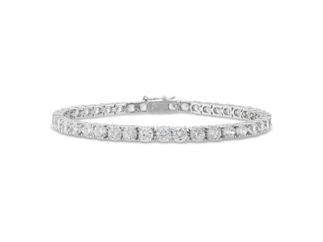 Amour Collections Sterling Silver 4mm Round Cubic Zirconia Tennis Bracelet, 7.25