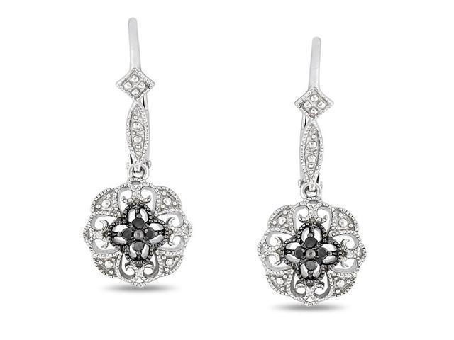 0.07ct Black Diamond TW Leverback Earrings Black Rhodium plated Silver