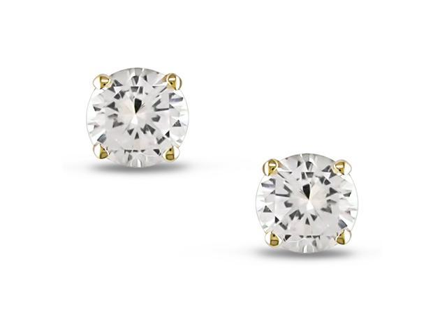 .70ct Round Created White Sapphire TGW Solitaire Earrings 10k Yellow Gold