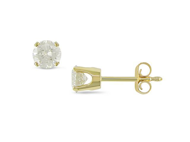 1/2 ct. Diamond Solitaire Earrings in 14k Yellow Gold
