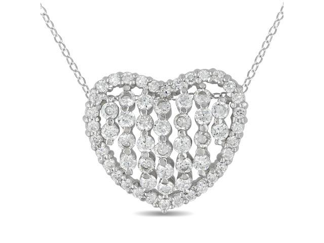 Sterling Silver 24mm Heart Shape Pendant with Round Cubic Zirconia w/ 18