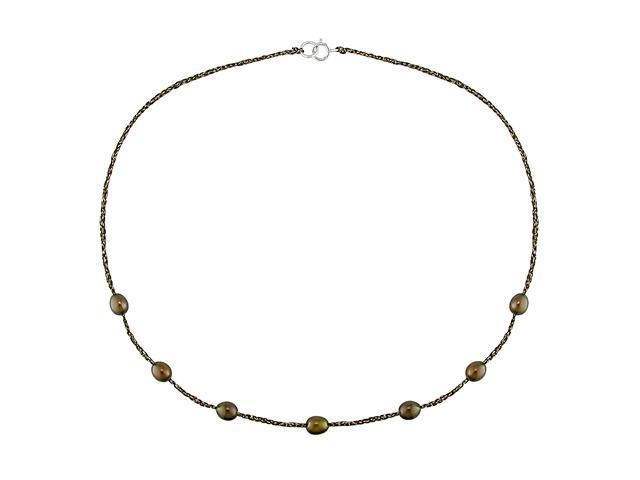 17'' 6-7mm Brown FW Rice Pearl Necklace on Brown-Golden Mesh Cord