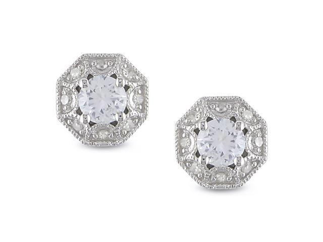 1/8ct Diamond TW and 7/8ct TGW Created White Sapphire Ear Pin Earrings