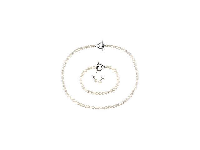 Sterling Silver 5-6mm Freshwater Cultured Pearl Boxed 3-Piece Set