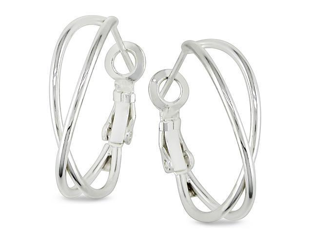 Criss-Cross Hoop Earrings in Silver