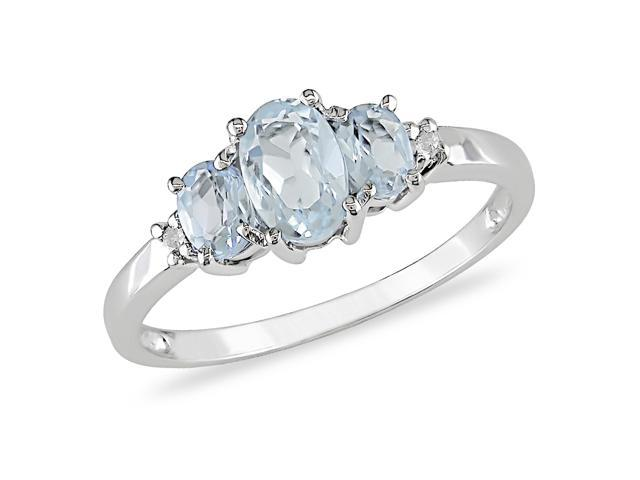3/4 ct.t.w.  Aquamarine and Diamond Accent Ring in 10k White Gold