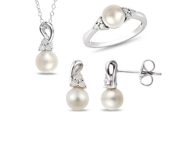 Set of 1/3ct TW & 5-7mm FW Round Pearl Earrings, Ring & Pendant w/ Chain Silver