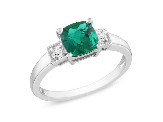 0.04ct Diamond TW & 1ct TGW Created Emerald Fashion Ring Silver
