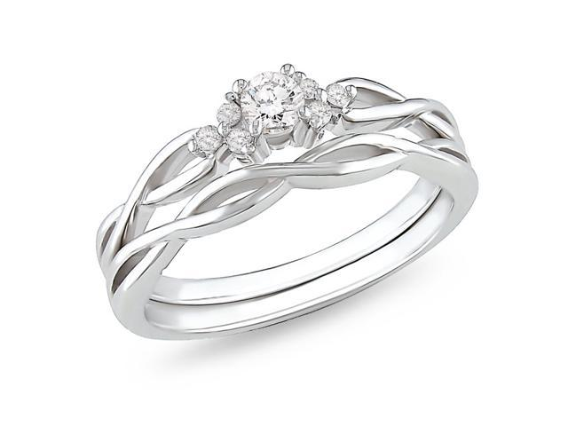 1/6ct Diamond TW Bridal Set Ring 10k White Gold