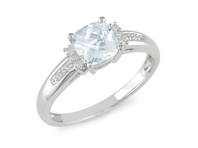 0.05ct Diamond TW & 4/5ct TGW Aquamarine Fashion Ring 10k White Gold