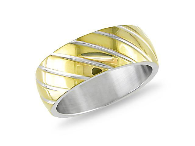 Stainless Steel Band Ring w/ Gold Plated Line Design