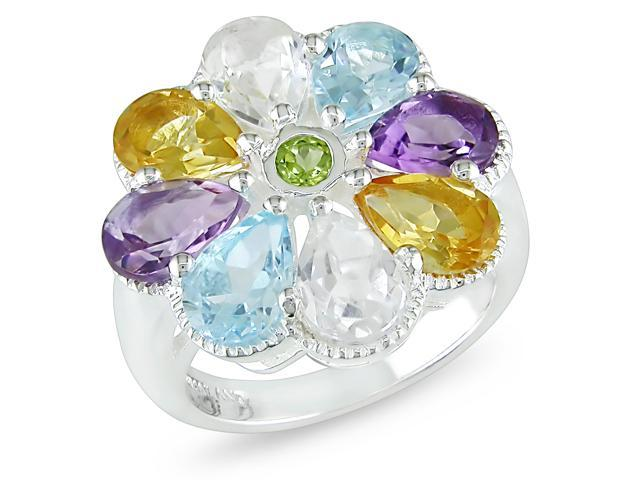 5 1/3ct TGW Pear Shape Multi Gemstone Ring Silver