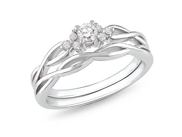 1/6ct Diamond TW Bridal Set Ring 10k White Gold