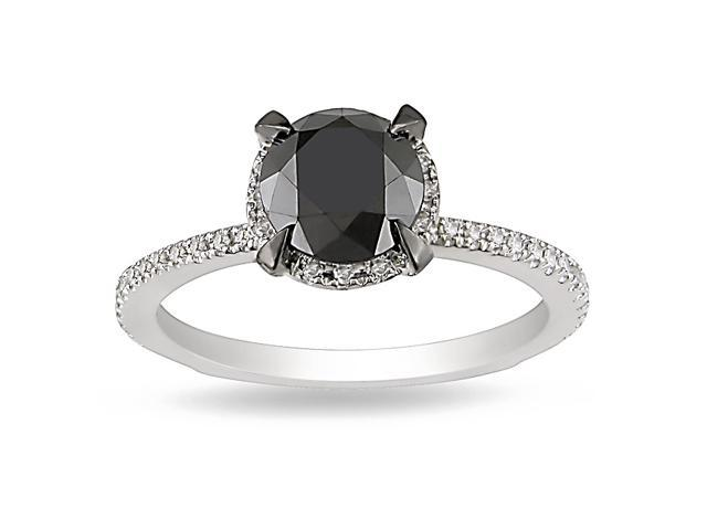 2 ct Black & White Diamond TW Fashion Ring 10k White Gold