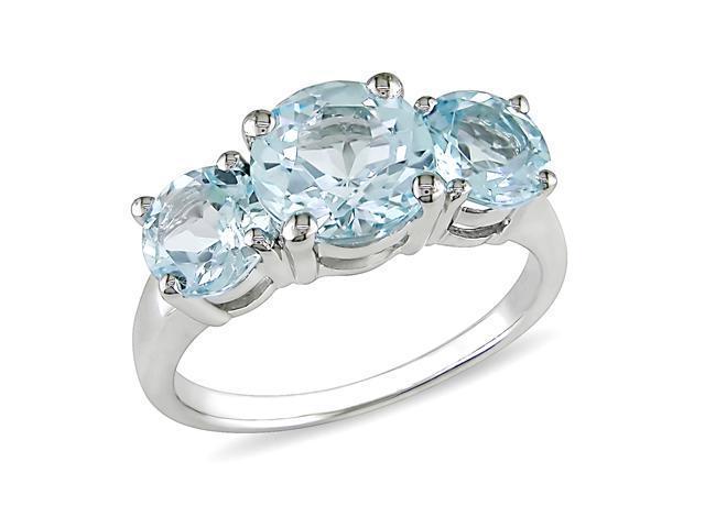 4 3/8ct TGW Blue Topaz – Sky 3 Stone Ring Silver