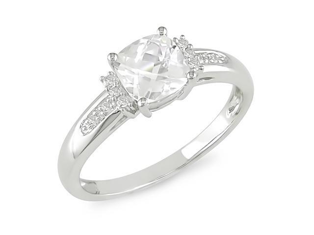 0.05ct Diamond TW & 1 1/4ct TGW White Topaz Fashion Ring 10k White Gold