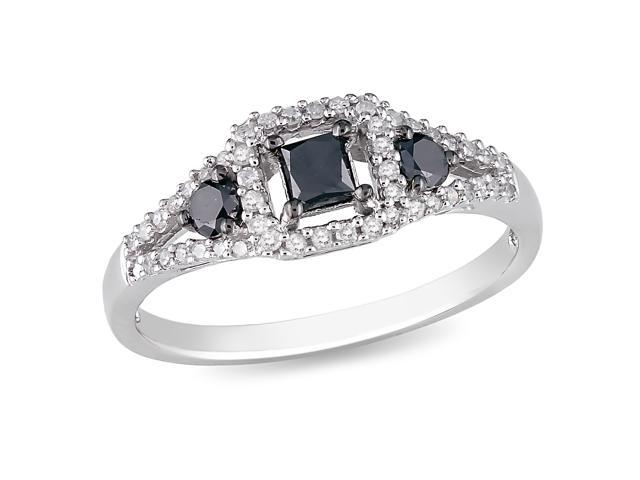 1/2ct Black & White Diamond TW Fashion Ring Silver