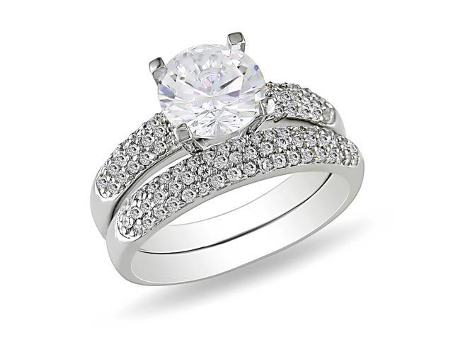 Sterling Silver Cubic Zirconia Engagement and Wedding Band Set