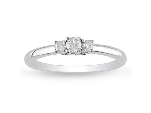 1/5ct Diamond TW 3 Stone Ring Silver